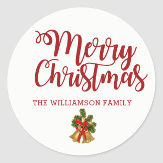 Personalized Christmas Sticker with Gold Bells