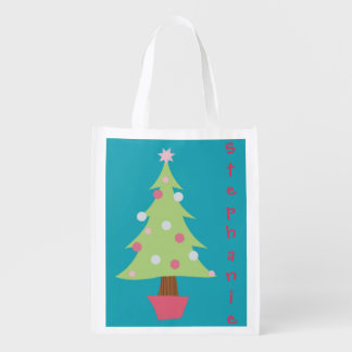 Personalized Christmas Tree Grocery Bag