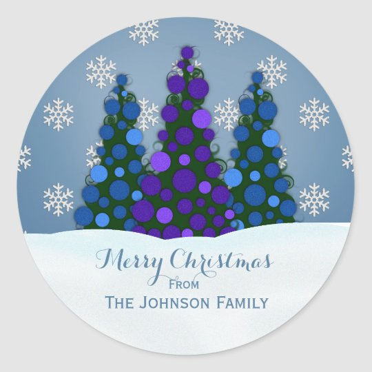 Personalized Christmas Tree Stickers Purple Blue