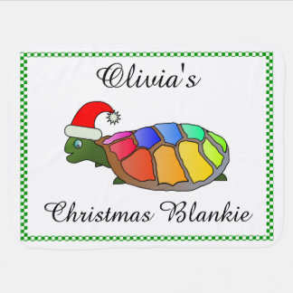 Personalized Christmas Turtle with Santa Hat Baby Blanket