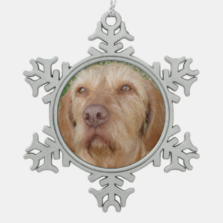 Personalized Christmas Vizsla Pet Photo Snowflake Pewter Christmas Ornament