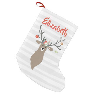 Personalized Christmas Whimsical Stag Deer Small Christmas Stocking