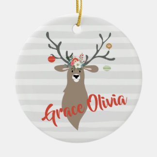 Personalized Christmas Whimsical Stag With Antlers Ceramic Ornament