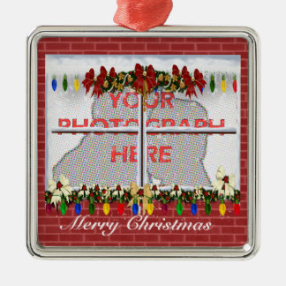 Personalized Christmas window photograph frame Metal Ornament