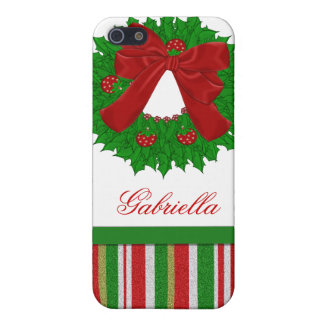 Personalized Christmas Wreath i Case For The iPhone 5