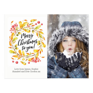 Personalized Christmas wreath photo card postcard