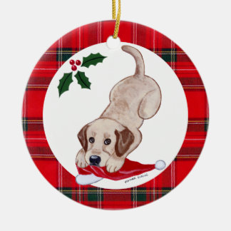 Personalized Christmas Yellow Lab Puppy Ceramic Ornament
