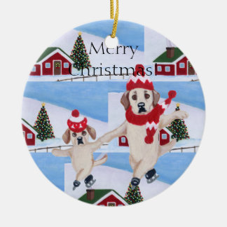 Personalized Christmas Yellow Labrs Ornament