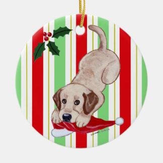 Personalized Christmas Yellowk Lab Puppy Ceramic Ornament