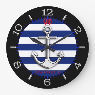 Personalized Chrome Anchor Navy Blue Stripes Dial Wall Clock