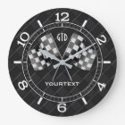 Personalized Chrome Racing Flags on Fine Checkers Large Clock