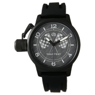 Personalized Chrome Racing Flags on Fine Checkers Watch