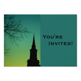 Personalized Church Steeple Baptism Card