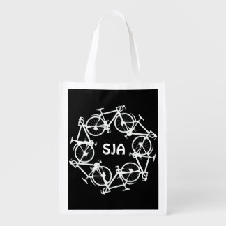 Personalized Circle of Cycles Design Reusable Tote Grocery Bag