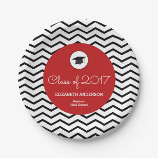 Personalized Class of 2017 Chevron Red Grad Paper Plate