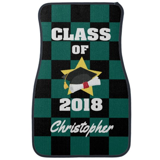 Personalized Class of 2018 Cap and Diploma Car Mat