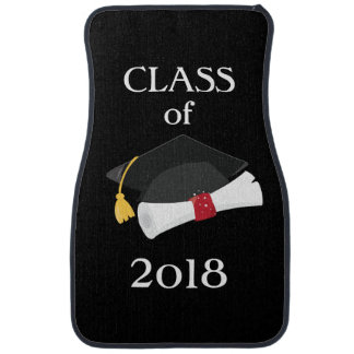 Personalized Class of Year Cap and Diploma Checker Car Mat