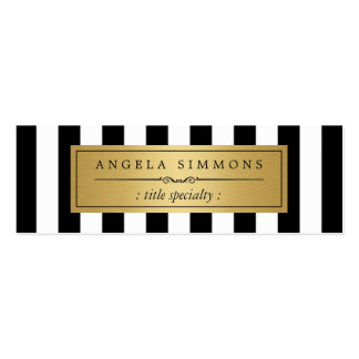 Personalized Classic Black White Stripes Mini Pack Of Skinny Business Cards