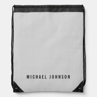 Personalized Classic Faux Linen Silver Grey Cinch Bag