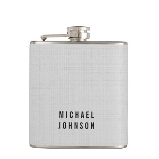 Personalized Classic Faux Linen Silver Grey Hip Flask