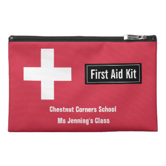 Personalized Classroom First Aid Kit Emergency Red Travel Accessory Bag