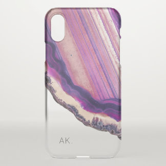 Personalized Clear iPhone X case | Purple Crystal
