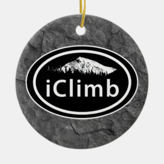 Personalized Climbing iClimb Mountain Christmas Round Ceramic Ornament