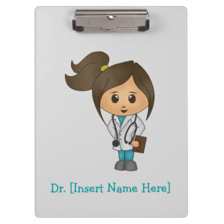 Personalized Clipboard - Female Brunette Doctor