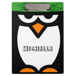 Personalized clipboard with funny penguin cartoon