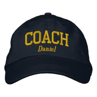 Personalized Coach in Golden Yellow Embroidered Hats