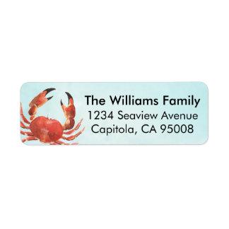 Personalized Coastal Crab Return Address Label