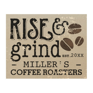 Personalized Coffee Lovers Vintage Wood Wall Decor
