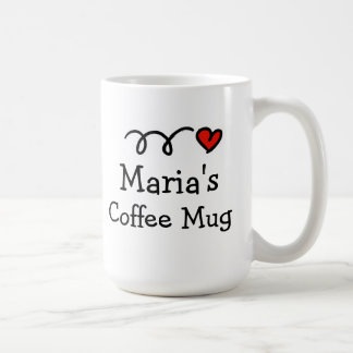 Personalized coffee mug with custom name and heart