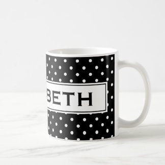 Personalized coffee mug with polka dots