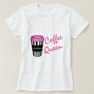 Personalized Coffee Queen Striped Cup T-Shirt