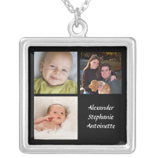 Personalized Collage 3 Photo Necklace Black w/Text