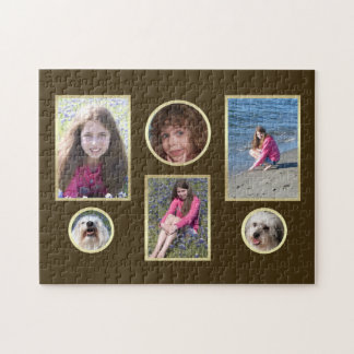 Personalized Collage Photo Puzzle in Brown