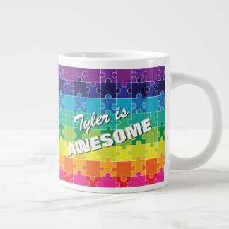 Personalized Colorful Autism Awareness Large Coffee Mug