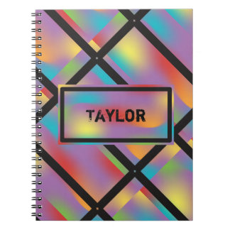 Personalized Colorful Black Spiral Note Book