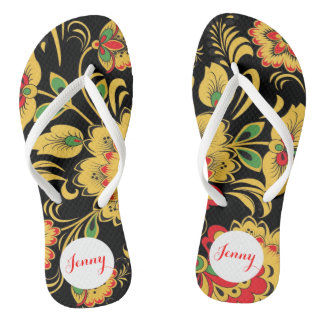 Personalized Colorful Flowers Your Name by VIMAGO Flip Flops