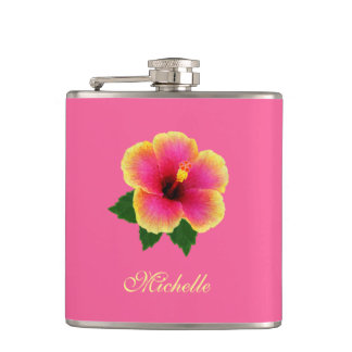 Personalized Colorful Hibiscus on Pink Hip Flask