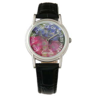 Personalized Colorful Hydrangea Flowers Watch