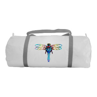 personalized colorful iridescent dragonfly gym bag