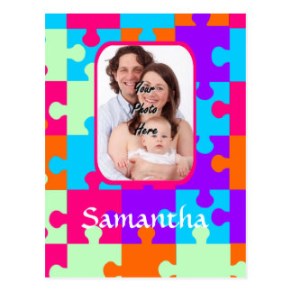 Personalized colorful jigsaw postcard