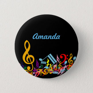 Personalized Colorful Jumbled Music Notes on Black 2 Inch Round Button