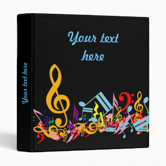 Personalized Colorful Jumbled Music Notes on Black 3 Ring Binders