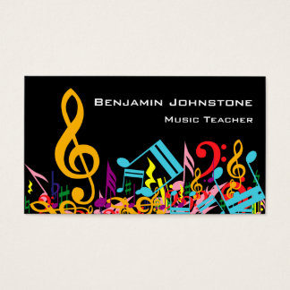 Personalized Colorful Jumbled Music Notes on Black Business Card