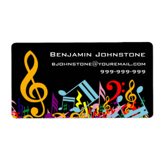 Personalized Colorful Jumbled Music Notes on Black Shipping Label