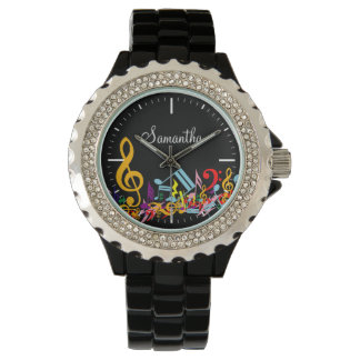 Personalized Colorful Jumbled Music Notes on Black Wristwatch