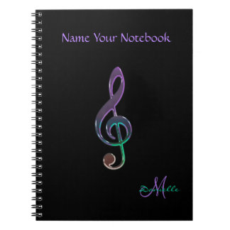 Personalized Colorful Music Clef Notebook